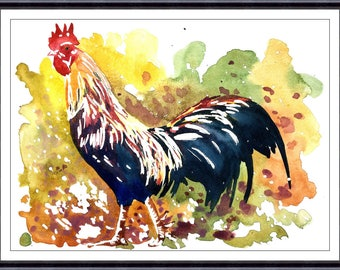 ROOSTER Watercolor, Rooster Art, Rooster Painting, by Tara Tet