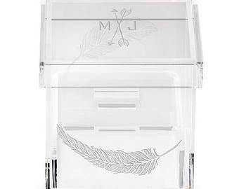 Perspex Acrylic Personalised, Wedding Ring Box, Trinket Box, Keepsake box, Feather Design with Crossed Arrows