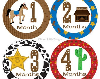 Monthly Baby Bodysuit Stickers Boy, Milestone Stickers, Month Stickers, Baby Month Stickers, Baby Stickers, Wild West, Cowboy #120