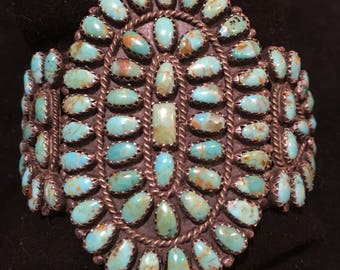 Vintage Rare Pawn Navajo Green Turquoise Cluster Cuff Bracelet