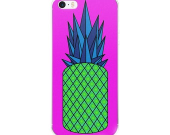 Retro Pineapple iPhone Case, original design, geometric, neon, blue, green pink, phone case, gift idea, present