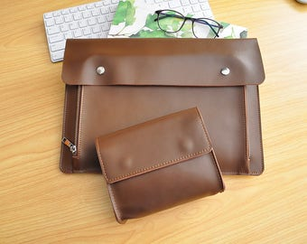 Custom Laptop leather Sleeve New Dell XPS Case Lenovo Yoga Case HP Laptop Case Surface Book case All Size Available-Brown Leather bag-107