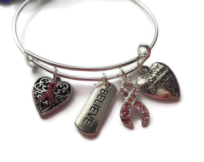 charity bangle, hope ribbon bracelet,  cancer bangle, pink ribbon bracelet, breast cancer gift, jewellery gift Uk