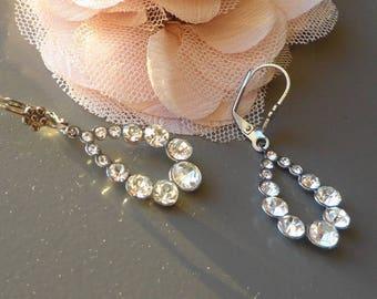fancy rhinestone flower stainless steel earewire Leverback drop earrings