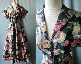 True vintage 1950s cotton dress bold floral novelty print new look | Size M-L | 50s dress waffle pique cotton flowers |