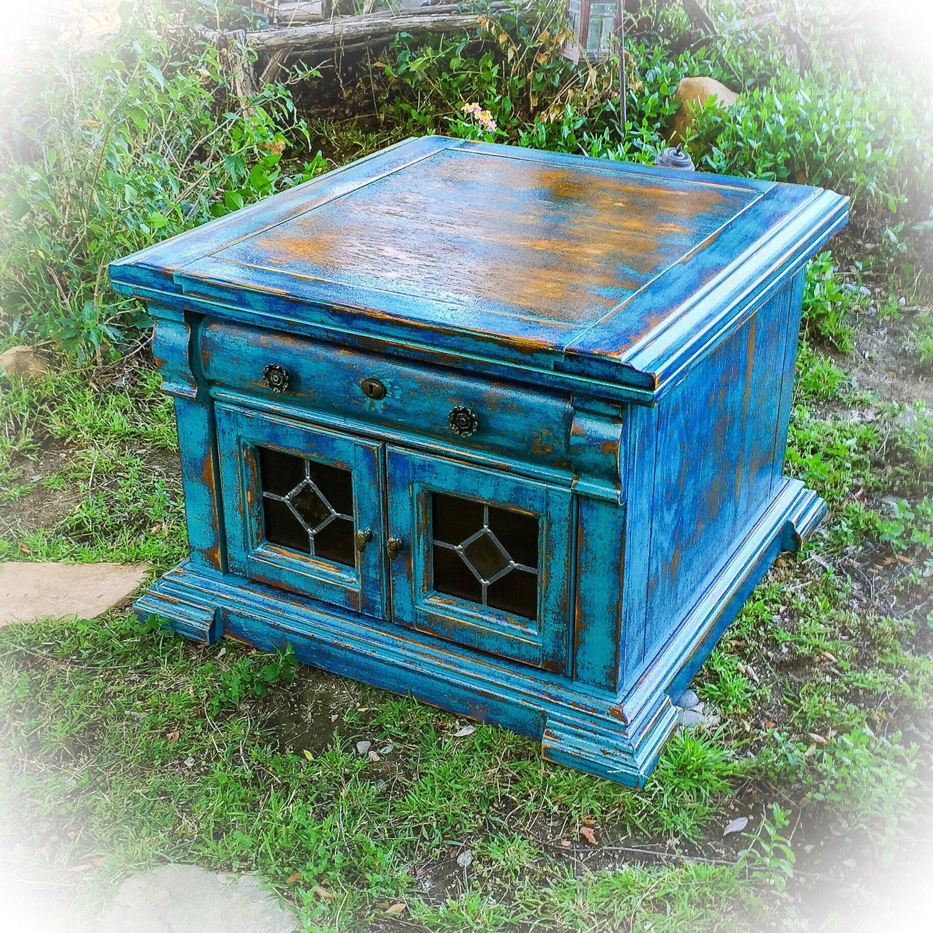 Glass Coffee Tables Etsy: Farmhouse Antique Coffee Table Blue Stained Glass Shabby