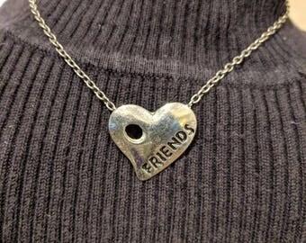 Silver Tone Friends Heart Necklace