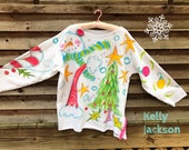 Christmas Rib Knit Tunic Hand Painted Made to Order for Size KellyJacksonDesign
