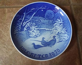 Vintage Bing and Grondahl Christmas Plate 1970, Pheasants in the Snow,  Beautiful Blue and White Tones of Color Draws One Deeper Fine Find