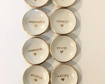 Bridesmaid Gift, Bridesmaid set of 8, Dish Set, Ring Holder, Personalized Dish, Jewlery Holder,