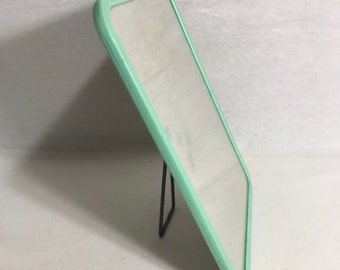 Old ice green Barber mirror + tripod Metal Vintage 70s