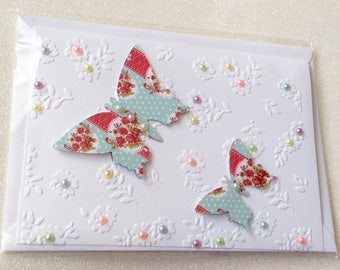 Beautiful handmade 3d butterfly card with pop up wings. Ideal for all occasions.