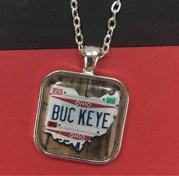 Buckeye Necklace with License Plate Art - Unique Pendant / Chain Necklace with License Plate Sign Image - Small Gift - Stocking Stuffer