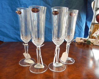 Four Crystal Champagne Flutes