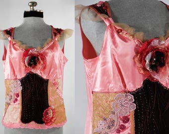 Vintage inspired chamise camisole top blouse art to wear upcycled altered size large