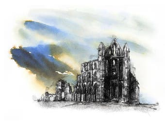 Whitby abbey | Limited edition fine art print from original drawing. Free shipping.