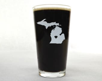 Michigan Pint Glass. Customize With Text or Symbol. Michigan Glass. Michigan Beer Glass.