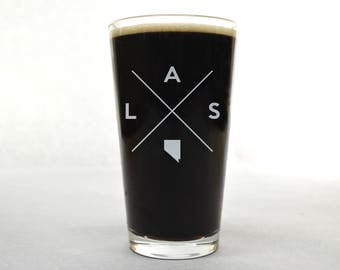 Las Vegas Glass | Las Vegas Pint Glass - Beer Glass - Pint Glass - Beer Glasses - Pint Glasses - Beer Mug - Las Vegas Nevada