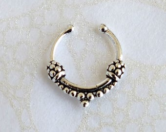 Sterling Silver Septum, Fake Septum Ring, Septum Clicker, Tribal Septum, Septum Ring, Nose Ring, Fake Piercing, Nose Jewelry