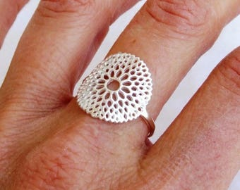 Sterling Silver Ring, Silver Flower Ring, Silver Round Ring, Ethnic Ring, Silver Ring, Big Ring, Silver Band Ring