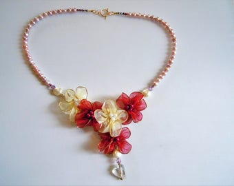 romantic bridal necklace, organza and Swarovski pearls