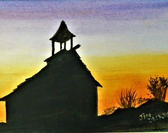 COUNTRY CHRUCH SUNSET Days End Jim Decker