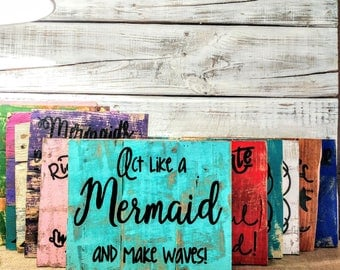 Mermaid and ocean pallet board signs, mermaid art, nautical home decor, rustic home decor, pirate and mermaid sign, photo prop, ocean sign