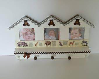 Wall shelf made of wood for very young child's room