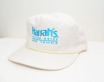 Vintage Harrah's Casino Lake Tahoe White Hat | Harrah's Casino Hotel Lake Tahoe California NV Snapback Trucker Hat - Style Zipper Closure