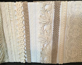 """Variety Lot of Lace, 10 Different Types, Each Piece 18"""" Long,"""