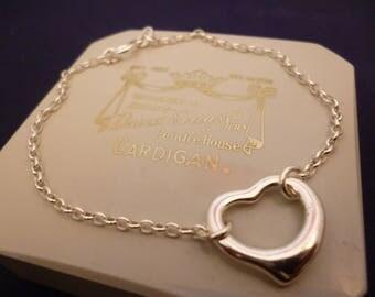 """A pretty silver heart bracelet - 925 - sterling silver - 6.5"""" -d"""