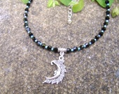 Moon Anklet. Beaded Anklet. Crystal Anklet. Black And Blue Anklet. Tibetan silver Man In the Moon Charm Anklet. Boho Anklet. Festival Anklet