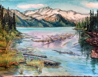 "Original Watercolor Painting, Landscape of Whistler Canada BC, 11x15"", 1802091"