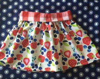 Summer Strawberry Blueberry Picnic Elastic Waist Skirt for baby or toddler girl