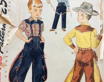 Simplicity 3025 boys Western shirt and pants size 3 vintage 1940's sewing pattern
