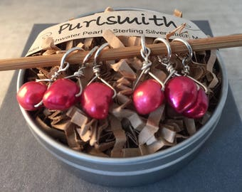 Coral Red Freshwater Pearl & Sterling Silver Stitch Markers for Knitting,Set of 6,Knitting Notions, Gift for Knit