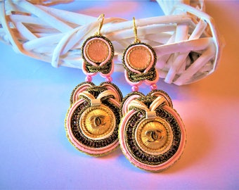 Soutache Earrings with authentic (stamp on back) very rare Chanel buttons.