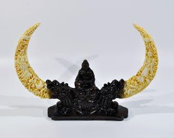 Buddha on crescent Moon/ Buddha statue/  Moon Sitting Kwan Yin Buddha Statue