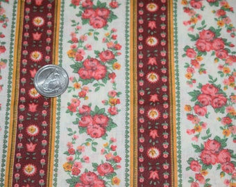 Fat Quarter, Floral Quilting Fabric, Quilting Fabric, Vintage Style Quilting Fabric, Rose Quilting Fabric, Quilting, Brown and Pink Fabric