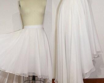 High Low Chiffon Dress, full shirt, summer skirt, dressy skirt, ivory skirt, midi skirt