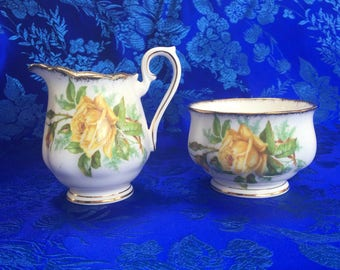 Royal Albert Tea Rose Bone China Cream Pitcher and Sugar Bowl