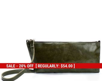 shoulder purse - leather clutch bag - green leather bag - evening purse leather clutch purse - mother's day gift for mom - Trapeze by KISIM