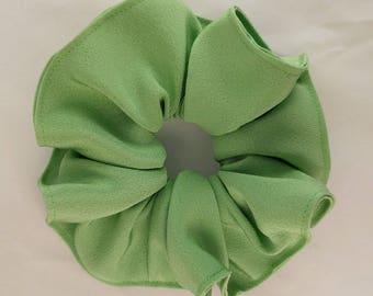 Silk hair scrunchie tie made with vintage kimono silk - Spring green color