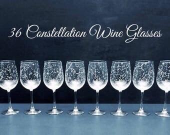 Set of 36 Handpainted Star Constellation Wine Glasses - Custom Order Your Own Set