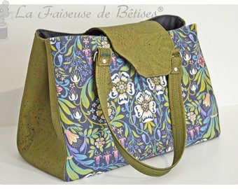 Printed handbag KARLIE fabric from cotton and khaki Cork