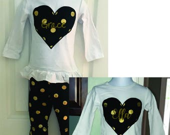 Personalizeable Boutique Girls 3 Piece Outfit - White Gold Polka Dot Hearts