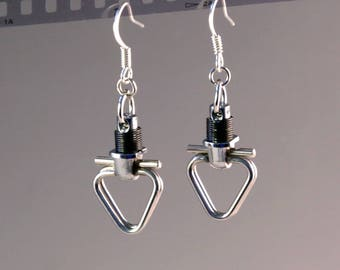 Camera Parts Earrings, Jewelry, One of a Kind, Photographic, Silver Tone Metal Black Springs, Handmade Gifts for Photographers and Photo Fan