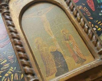 Vintage French Religious Florentine Gilt Decorative Wall Plaque, Jesus on the Cross Image-Vintage Home Decor