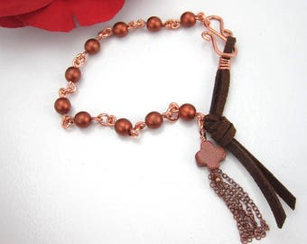 Suede rosary, copper beads, copper closure, tassel, one of a kind rosary, feminine rosary, leatherrang-011
