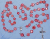 Coral Rosary - Natural Pink Coral Beads - Italian Silver Our Lady of Medugorje Center that Contains Soil - Italian Silver Filigree Crucifix